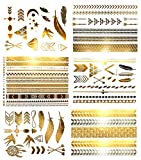 Terra Tattoos Temporary Hair Tattoos - Over 75 Metallic Bohemian Designs in Gold and Silver (6 Sheets), Hazel Collection