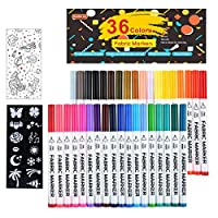 36 Colours Fabric Markers, Shuttle Art Fabric Markers Permanent Markers for T-Shirts Clothes Sneakers Jeans with 13 Stencils 1 Fabric Sheet,Permanent Fabric Pens for Kids Adult Painting Writing