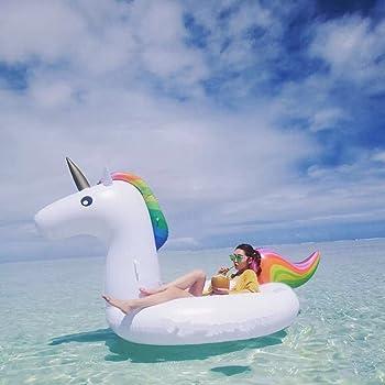 Extra Large Unicorno Gonfiabile Floating Bed Generale / Adulti / Bambini Anello di Nuoto Acqua Ricreazione Leisure Sedia di 2-3 Persone per Open Space