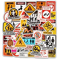 Traffic Signs Danger Warning Stickers Comic Computer Stickers Vinyl Stickers for Car Bike Laptop Skateboard Luggage Decal Graffiti Patches Stickers 50 pcs Warning Sign Style