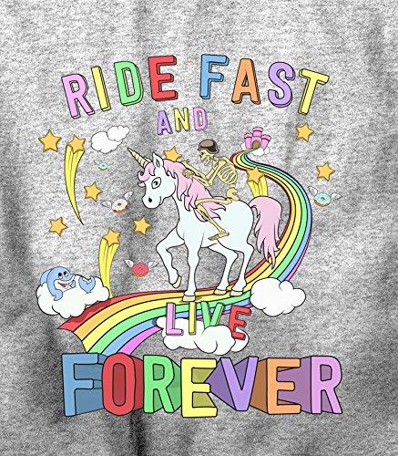 Skeleton Reiten ein Einhorn unten Ein Regenbogen-Radfahrer-T-Shirt Kapuzenpullover Grey