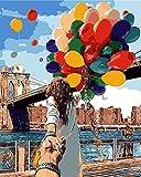 DIY Digital Leinwand-Ölgemälde Geschenk für Erwachsene Kinder Malen Nach Zahlen Kits Home Haus Dekor - Mit Ballon vor