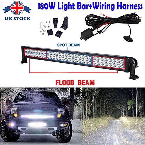 81,3cm LED Light Bar 180Watt Flood Spot Beam Combo 60pcs Chips Nebel Driving Lampe Off Road Arbeit Lichter für Boot Traktor SUV Cars Trucks + Verkabelung Schalter an/aus