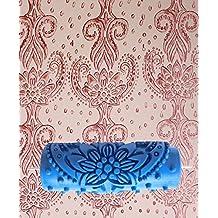 tfxwerws DIY pared decoración patrón de flores en relieve rodillo de pintura herramienta (15cm), color azul
