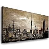 Julia-Art Leinwandbilder - 120 mal 50 cm Bild Berlin City, Skyline Wandbilder sind fertig gerahmt - verschiedene Motive - Kunstdrucke XXL Panorama Be-01-18
