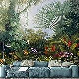 Fonds D'Écran Retro Tropical Rain Forest Plant Paysage Photo Peinture Murale Peintures Murales Salon Papier Peint 3D Imitation Tissu De Soie 150X105Cm
