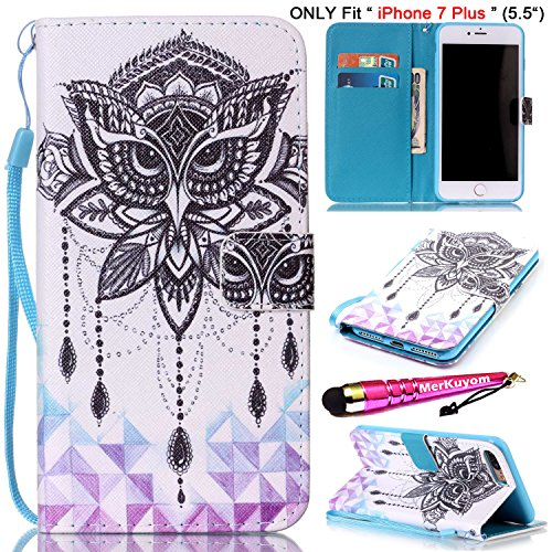 iPhone 7 Plus - Case [Handschlaufe], merkuyom [Standfuß] Premium PU Leder Wallet Tasche Flip Cover Skin Case für Apple [iPhone 7 Plus], 7plus (2016) -5.5-inch, Stylus, Flower Owl (Smart Phones Verizon-handys)