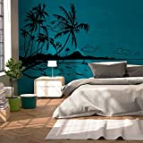 Wandtattoo Wandaufkleber Aufkleber Sticker Karibik Südsee Palmen Meer Strand M1887 ausgewählte Farbe: *silber* ausgewählte Größe: *XL* - 2