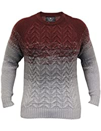 Pull Homme Crosshatch Pull Tricot Pull-over Épais Haut Bicolore Hiver