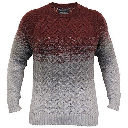 Uomo Maglione Crosshatch Maglione Lavorato A Maglia Pullover Grosso Top Bicolore Invernale Nuova Rosso - PEALBACK