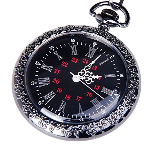 pocket-watch-black-dial-open-faced-roman-numerals-with-chain-vintage-design-pw-24