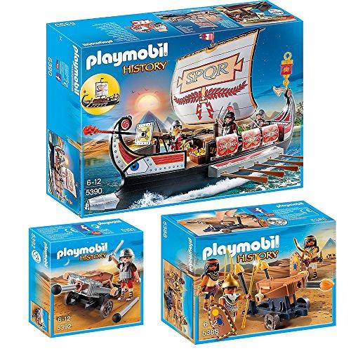 Preisvergleich Produktbild PLAYMOBIL® History 3er Set 5388 5390 5392 Ägypter mit Feuerballiste + Römische Galeere + Legionär mit Balliste