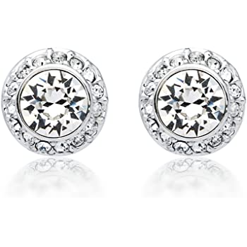 de99c2ea2848b2 MYJS Angelic Rhodium Plated Classic Stud Earrings with Clear Swarovski  Crystals