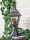 Edle Außen Sockelleuchte in antik -gold Tiffany-GlasE27 230V IP43 Wegbeleuchtung Garten Außen Wegeleuchte