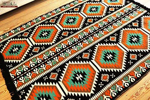 Teppich 200 x 135 cm schwarz Kelim Orient Teppich Kelim/Fußmatte, Läufer Wandteppich für, MATTO, Matta, Bereich Teppich, Alfombra, Teppich, Läufer, Tapis,Alfombra, Tapete, damaskunst S 1-4-76 -
