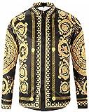 Pizoff Herren Luxus Palace Still Fashion Hemden mit Pflanze Blumen Medusa Y1792-18-XXL, Y1792-18, Gr. XXL