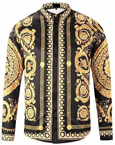 Pizoff Herren luxus palace Still fashion langärmliges Hemd Hip-Hop Tops mit golden floral Schild Medaille Druckmuster, Y1792-18, Gr. XL (Kimono-hemd)