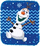 Vervaco PN-0166274 Knüpfpackung für Knüpfteppich Olaf Frozen Knüpfpackung, Stramin, Weiß, 47 x 54 x 0, 30 cm