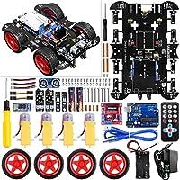 Robot Arduino UNO, Tracción en 4 Ruedas, Evitación de Obstáculos por Infrarrojos y Ultrasónicos, Seguimiento, Apoya Cotrol Remoto por Infrarrojos y APP Bluetooth (No se requiere soldadura) UNIROI