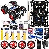 UNIROI Kit Voiture Robot, Arduino UNO Projet Kit avec Deux Roues Motrices,UNO R3 Board - Voiture Jouet Educatif et Intelligent pour Adolescent et Adulte