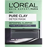 L'Oreal Paris Pure Clay Black Charcoal Detox Face Mask, Deep Cleansing Skin Care for All Skin Types 50 ml