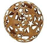 dekorative Stern-Kugel Deko-Kugel Garten-Kugel Metall rostig dm= 25 cm