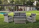 XONE Set giardino LUDUM in polyrattan e alluminio, divano 2 posti, 2 poltrone e tavolino