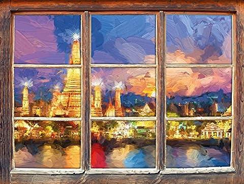 Wat Arun Temple Night View Bangkok Thaïlande effet art Brush Fenêtre en 3D look, mur ou format vignette de la porte: 62x42cm, stickers muraux, sticker mural, décoration murale