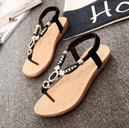 YOUJIA Femmes Élégant Métal Sequins T-Courroie Clip Toe Sandales Plates Chaussures #2 Noir