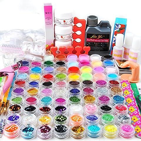 Mode Galerie 78 Acrylique Poudre Liquide Pailltte Billes Décor Stripe Velvet Ongles Kit