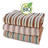 SonnenStrick 3009012 Erstlingsdecke/Babydecke / Kuscheldecke/Strickdecke mit zartem Streifenmuster aus 100 Prozent Bio Baumwolle 80 x 80 cm, rot