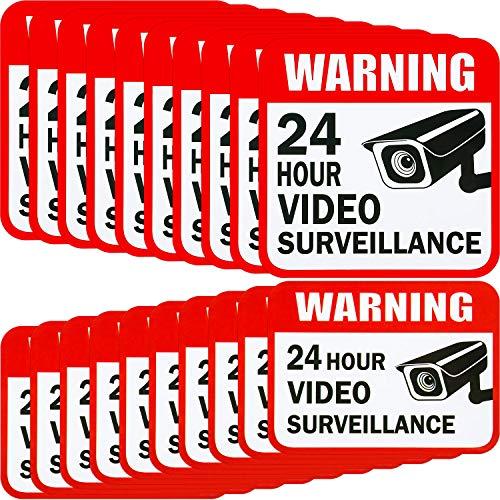 20 pegatinas de vigilancia de vídeo, 2 tamaños para el hogar o la casa, sistema de alarma, 5 x 5 pulgadas y 3 x 4 pulgadas adhesivas 24 horas señales de advertencia de seguridad