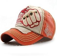 Handcuffs Stylish Cotton Baseball Adjustable Orange Cap for Men/Women