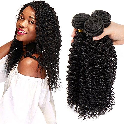 Extension capelli veri ricci kinky curly 3 bundles estensioni umani tessitura matassa 300g virgin human hair, 25cm 25cm 25cm