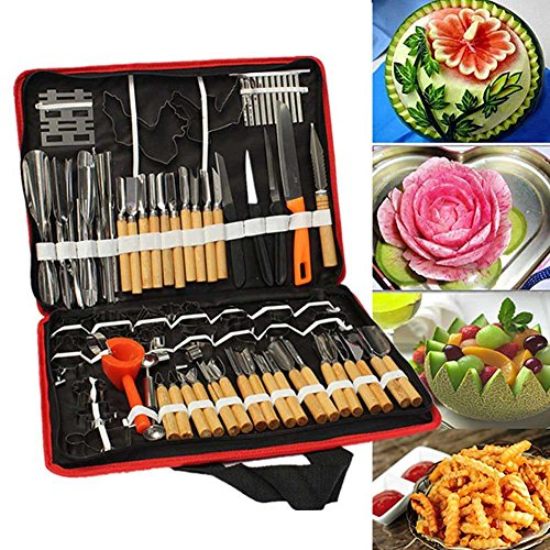 lzn 80 teile/satz Portable Gem¨¹se Obst Lebensmittel Holz Box Gravur Peeling Carving Tools Kit Pack