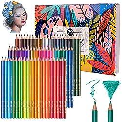 72 lápices de acuarela profesionales, lápices de dibujo de colores numerados solubles, únicos y diferentes - ideal para colorear, mezclar y capas, técnicas de acuarela