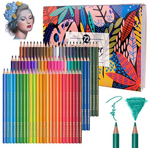 72 matite acquerellabili professionali, matite colorate da disegno numerate solubili, uniche e diverse, ideali per colorare, miscelare e stratificare, tecniche ad acquerello