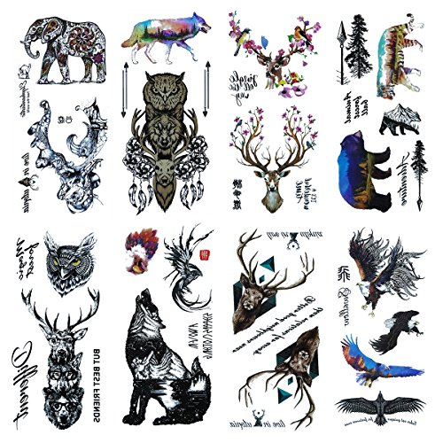 COKOHAPPY Raptor Flash Tattoo - 27+ Verschiedene Designs - Fake Gefälscht Like Tattoo - Adler Falke Bear Tiger Eule Wolf Elefant Deer Hirsch and (Erwachsene Kostüme Raptor)