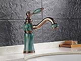 SunZIdas Badezimmer bemalte Jade Rose Gold Taps kann sich Drehen 360 Grad kalten Wasser Hahn Waschbecken
