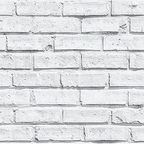 Arthouse White Wallpaper, Brick, Full Roll 53 cm x 1005 cm