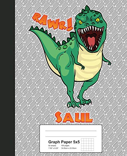 1805 Notebook (Graph Paper 5x5: SAUL Dinosaur Rawr T-Rex Notebook (Weezag Graph Paper 5x5 Notebook, Band 1805))