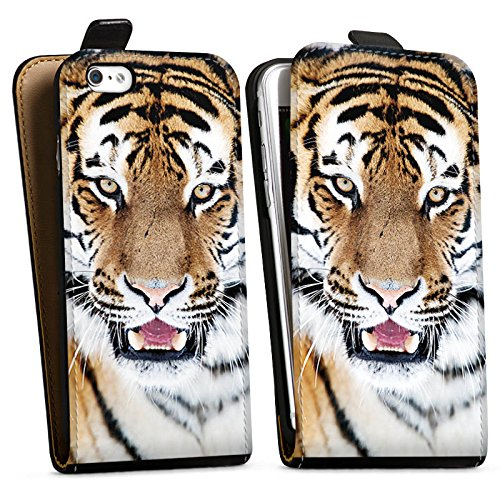 Apple iPhone X Silikon Hülle Case Schutzhülle Tiger Raubkatze Großkatze Downflip Tasche schwarz
