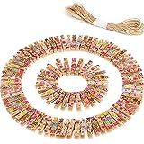 100 Stück Mini Bunt Wäscheklammern Foto Klammern mit 10 Meter