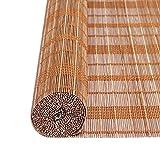 ZEMIN Bambus Bambusrollo Jalousette Rollo Venezianisch Schattierung Innen/Außen Installieren Anpassbar Aufzug Atmungsaktiv Handhebend, 3 Farben, 19 Größen Verfügbar