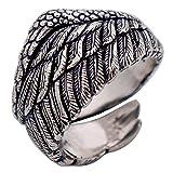 Anillo de plumas ala ángel de plata esterlina 925 negra vendimia para hombres mujers ajustable