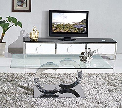 Ultra Stylish Channel Modern Glass Coffee Table / Side