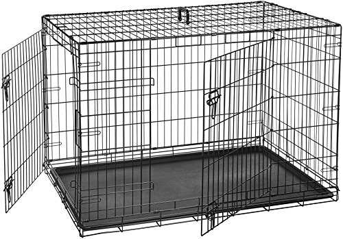 AmazonBasics Hundekäfig mit 2 Türen, Metall, zusammenklappbar, Gr. 122 cm