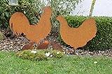 Dekoration Metall Huhn rostig Familie