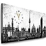 Julia-Art Bilder - Berlin Leinwandbild - 100 X 40 cm Wandbild mit Uhr - Wanduhr Geräuschlos - Küchenuhr Kunstdruck xxl Panorama - Fertigbild sofort aufhängbar Wu-12a-4