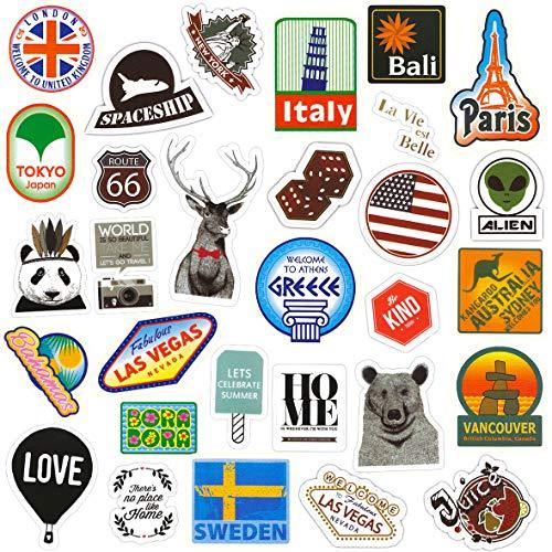 makstore 80 Stücke Vintage Sightseeing World Tour Aufkleber für Gitarre Laptop Autos Motorrad Fahrrad Graffiti Patches Skateboard, Vintage Stickers wasserdicht